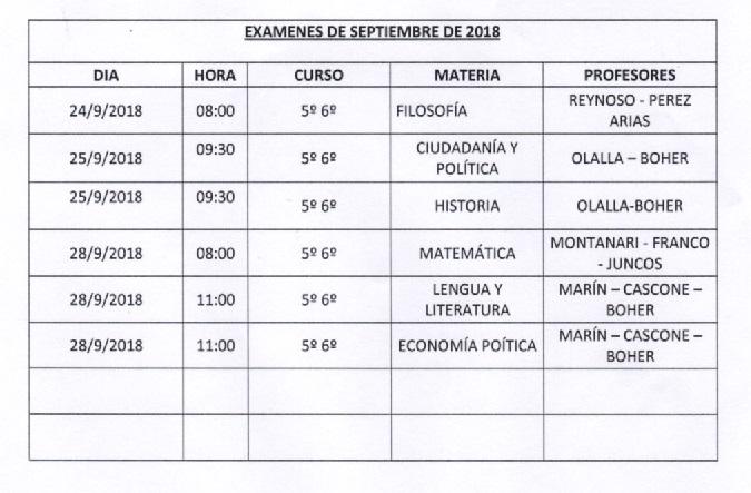 Importante: permisos para rendir exámenes de Septiembre